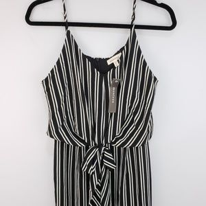 NWT Monteau Black White Striped Tank Jumpsuit